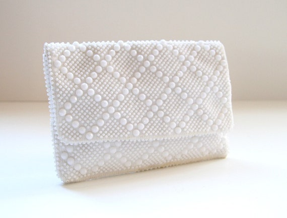 Beaded Envelope Pouch - Snow White