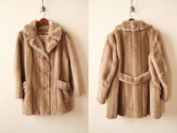 50s Faux Mink Fur Coat - Chestnut