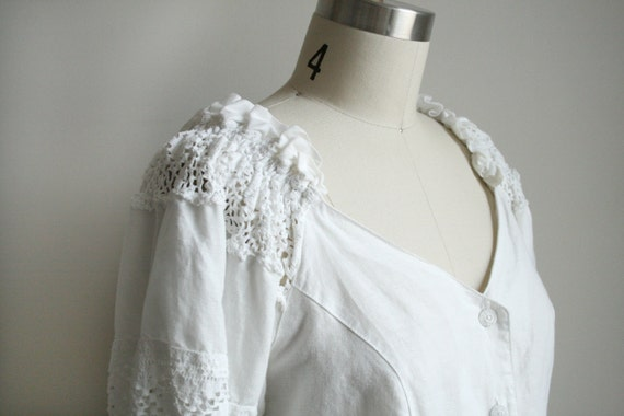 Lace and Ruffle Blouse - White Linen - Princess / Peasant Cut