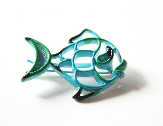 Sea Blue Fish Barrette - 60s Enamel Barrette
