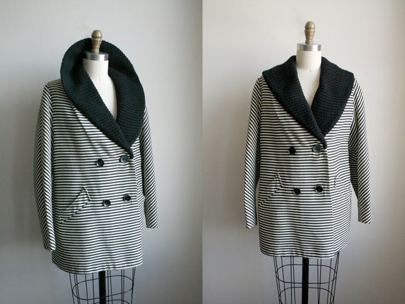 Mod Striped Peacoat - Black and White