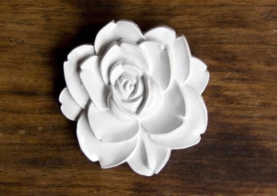 White Resin Rose Brooch - Oversized 60s Brooch - Snow White