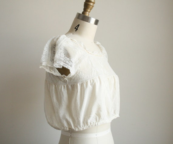 Ivory Silk Camisole with Crochet - Edwardian Crop Top