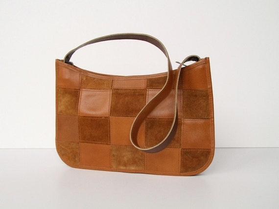 SALE Mod Suede Shoulder Bag - Patchwork Suede