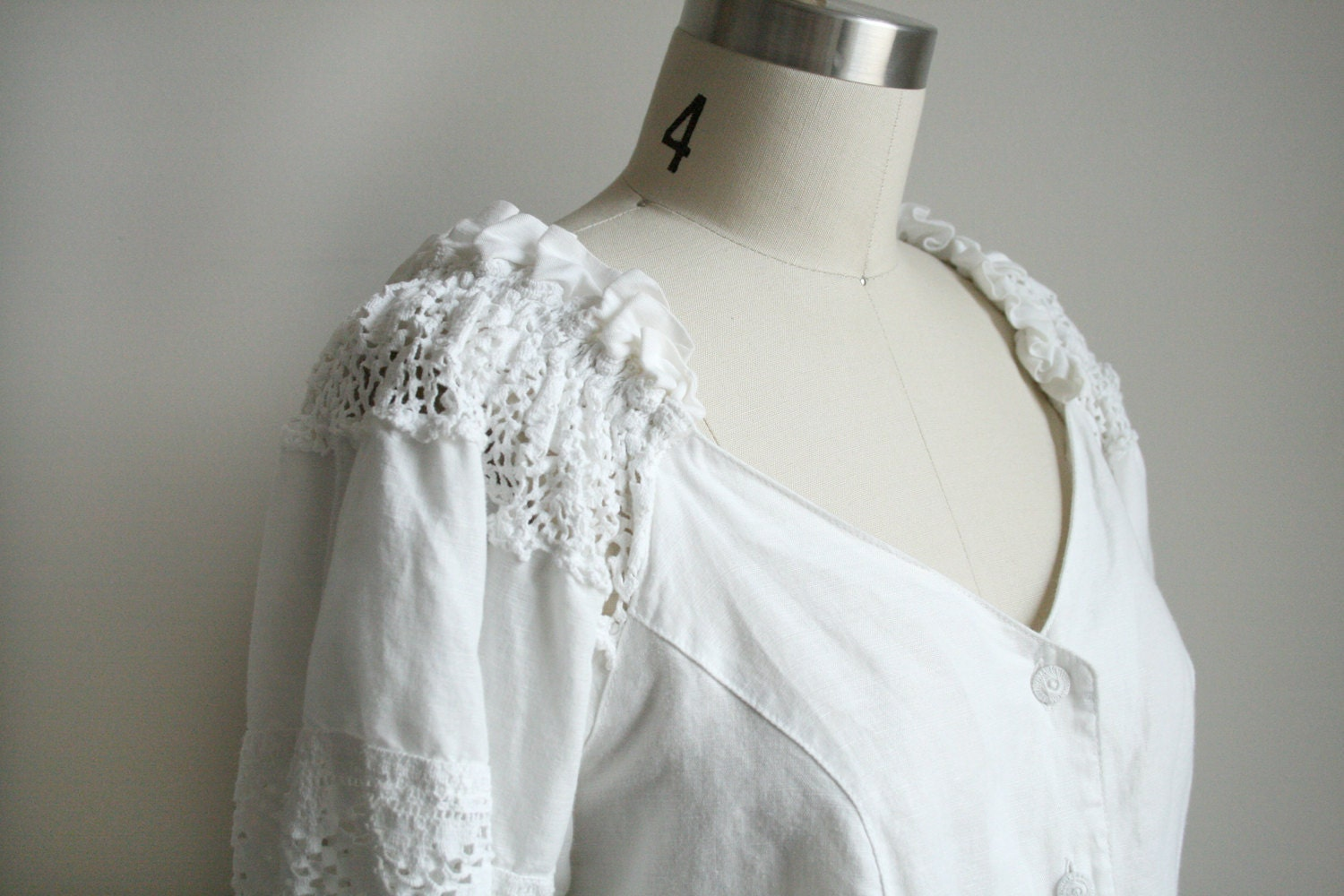 White Fitted Peasant Blouse 43