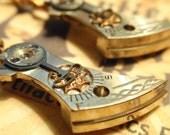 Vintage Steampunk engraved Watch Cock Earrings w copper gold center gear