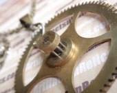 Vintage Steampunk  Brass industrial Clock Big Star gear clockwork choker Necklace