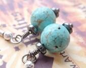 Turquoise Howlite and Hemitite dainty Earrings.
