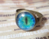 Blue Eye Ring in Adjustable Antiqued Brass Setting SIZE 7 - 11 Blue Green