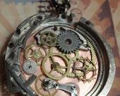 Clockwork Gear Steampunk Necklace Dual Sided nice details OOAK WPN 25