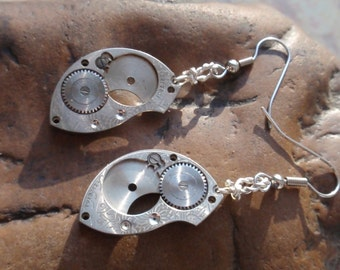 Vintage Antique steampunk Watch Guilloche engraved Earrings