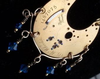 Vintage Steampunk Brass Pocket Watch Necklace  blue crystals
