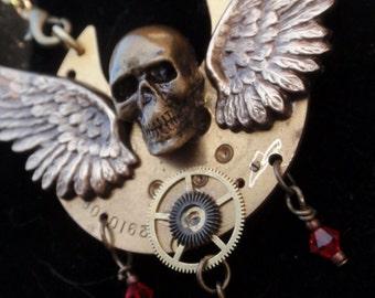 Gothic Macabre Winged Skull  Vintage Steampunk Pocket Watch Necklace