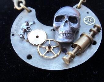 Macabre Gothic Steampunk Vintage pocket watch skull necklace