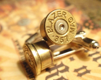 Bullet Shell Cufflinks 357 Magnum two tone (gold and silver) Up Cycled  Repurposed Cuff Links