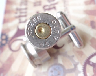 RESERVED Bullet Cufflinks and Tie tack set two tone GAP 45 Up Cycled  Repurposed bullet shell Cuffl Links .45 caliber