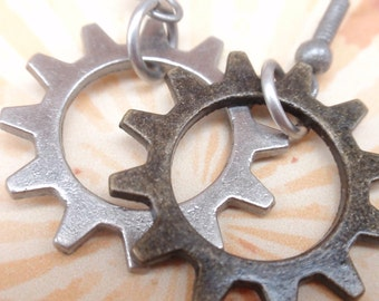 Steampunk Gear Earrings Olde World Steampunk Earrings antiqued steel Gear / Antiqued Bronze Cog drop earrings