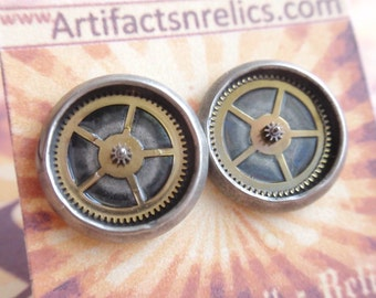 Gear Gearrings Antique Silver stud Earrings (Sounds of Steampunk) Neo Victorian 12