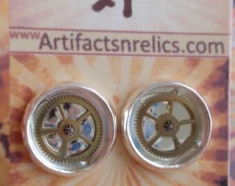 Gear Gearrings Silver stud Earrings (Sounds of Steampunk) Neo Victorian 21