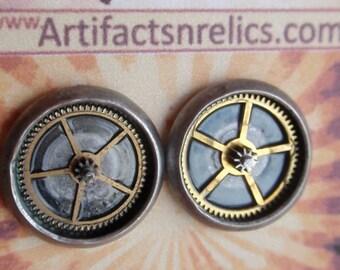 Gear Gearrings Antique Silver stud Earrings (Sounds of Steampunk) Neo Victorian 16