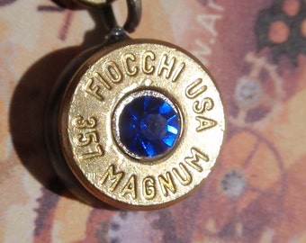 Bullet shell Necklace  357 Magnum FIOCCHI headstamp w SAPPHIRE Rhinestone chaton in center Bullet Shell
