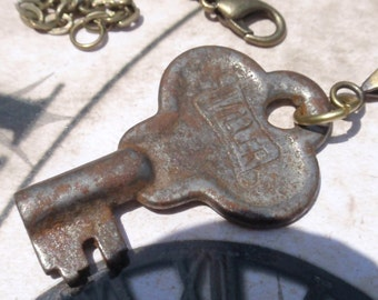 Skeleton key necklace Olde World Barrel Vintage Skeleton key Antique key No 6