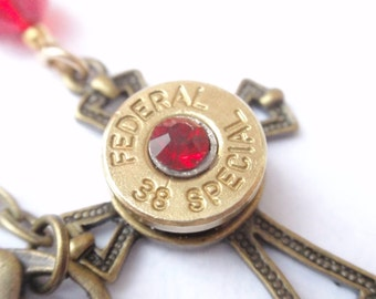 Bullet Necklace FEDERAL 38 Special RED Crystal Bullet Shell Cross w Red Rhinestone Chaton