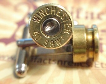 40 Cal... Premium Bullet Shell Cufflinks  Two Tone Gold and Silver