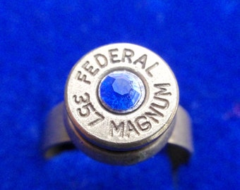Bullet Casing Ring 357 Magnum Up Cycled Shell Casing w Sapphire Blue Crystal in Adjustable Antique Brass Setting SIZE 7 - 11
