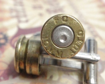 10mm Bullet Shell Cufflinks FC Two Tone Gold and Silver