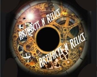 A Clockwork Eye Glass Eyes Taxidermy Steampunk Fantasy Eyes eye set of 2, 25mm Steampunk Jewelry and Pendant Making