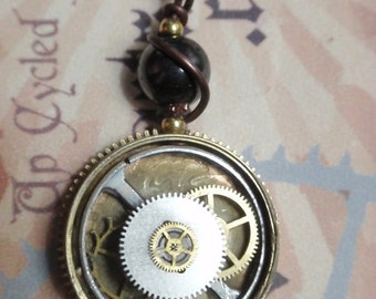 Antique Watch Steampunk Necklace nice details OOAK WPN 1