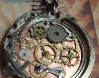 Clockwork Gear Steampunk Necklace Dual Sided nice details OOAK WPN 25