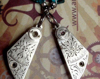 Watch Cock Earrings Up Cycled Vintage watch parts turquoise crystals Sterling Silver Ear wires Premium