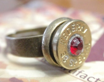 Up Cycled Ring 38 Special FEDERAL  Bullet Casing Shell Casing w Red Crystal in Adjustable Antique Brass Setting SIZE 7 - 11