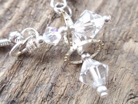 Balancing act steampunk vintage gear  earrings swarovski crystals Clear
