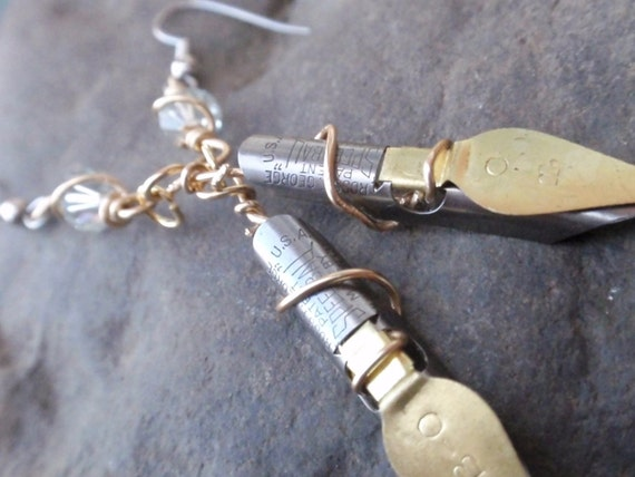 Fountain Ink Pen Nib Earrings The Artist Statement...... Two Tone Speedball nibs up cycled ArtifactsnRelics Ice  crystal