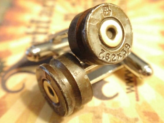 Bullet Shell Cufflinks Military 7.62 Steel 7.62 x 39 AK 47 shell casings, Up Cycled  Repurposed Cuff Links