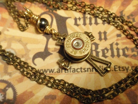 Bullet Necklace 38 Special Cross Necklace Police Two Tone Gold and Silver Bullet Shell Cross