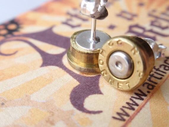 22 bullet earrings 22 Hornet ... Premium Bullet Shell Sterling Silver Post Earrings... Two Tone silver and gold