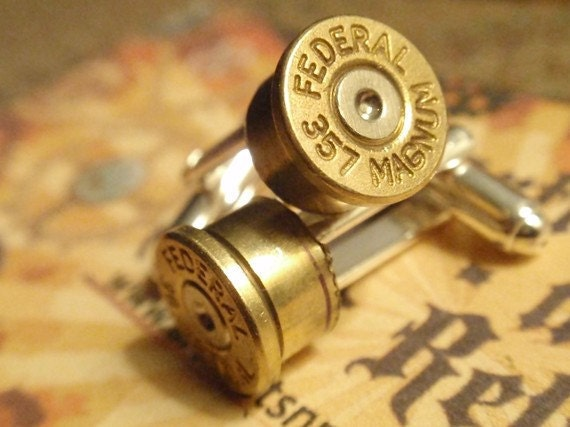 Bullet Shell Cufflinks 357 Magnum FEDERAL two tone (gold and silver) Up Cycled  Repurposed Cuff Links