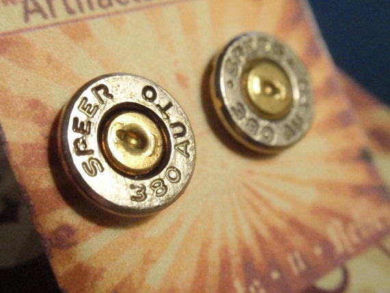 380 SPEER.. Featherweight Bullet Shell Sterling Silver Post Earrings Super Thin... Two Tone Gold & Silver