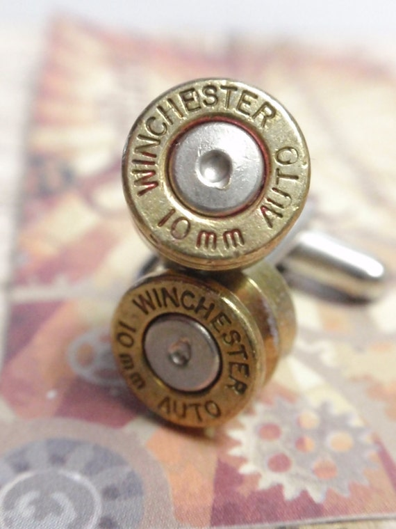 10mm Bullet Shell Cufflinks WINCHESTER Two Tone Gold and Silver