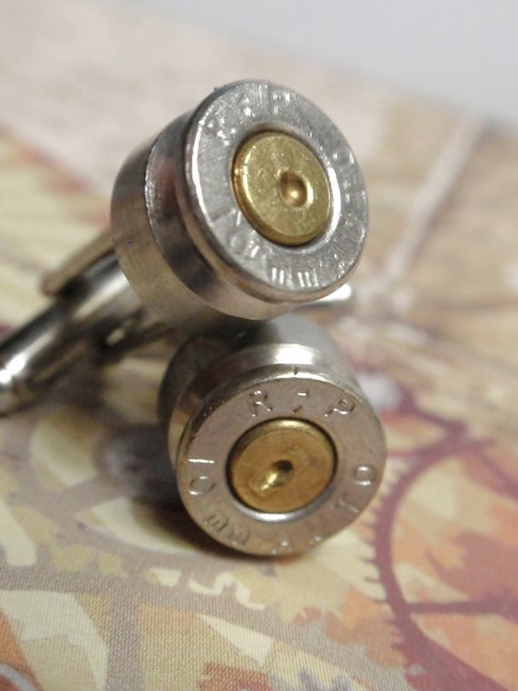 Bullet Shell Cufflinks 10mm RP Two Tone Silver and Gold