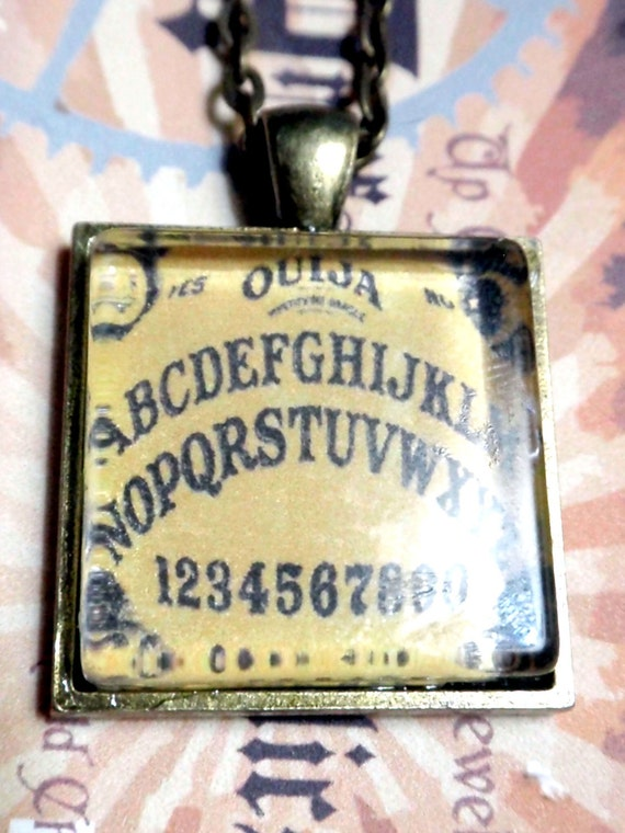 OUIJA board necklace pendant one inch square on antiqued brass 18 in chain
