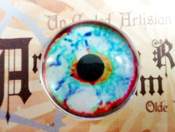 blue Glass Eyes Taxidermy Fantasy Eyes eye set of 2, 25mm Steampunk Jewelry and Pendant Making