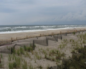 Photo Print of sandy shore with fence- ocean art - Fences