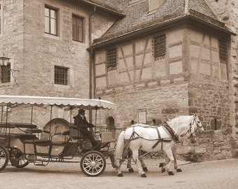 Photo Print of horse drawn carriage in Rothenberg,Germany - Plodding Along