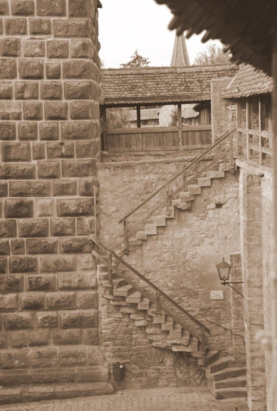 Photo Print - Old stone stairs in Rothenberg, Germany called Stairs