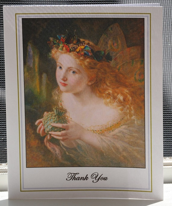 Thank You Card with envelope - Blank Greeting Card-  Face of a Woman Thank You Card